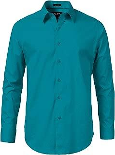 TrueM Mens Slim Fit Dress Long Sleeve Shirts, 11