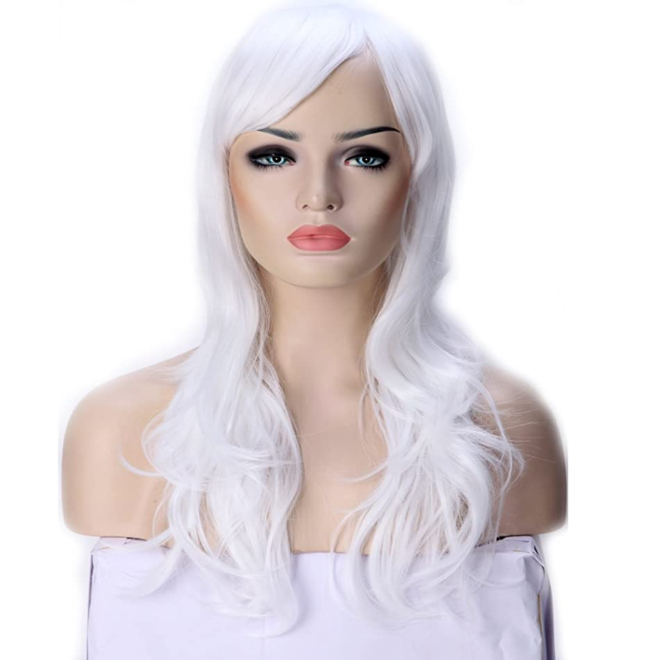 23 Inch Long White Anime Cosplay Wig Synthetic Hair Curly Wavy Full Wigs with Bangs for Women Girls Lady Fashion and Beauty Japanese Heat Resistant Fiber