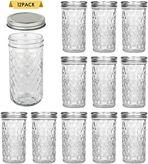 SXUDA 22 oz Mason Jars with Silver Lids and Bands Regular Mouth Canning Jars for Jam, Honey, Jelly, Wedding Favors, Shower Favors, Baby Foods, DIY Magnetic Spice Jars, 12 PACK