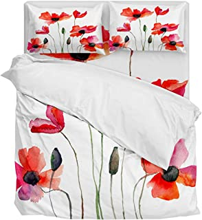 Fantasy Star Comforter Bedding Set Watercolor Poppy Illustration Home Decoration 4 Piece Duvet Cover Set Include 1 Flat Sheet 1 Duvet Cover and 2 Pillow Cases Twin Size