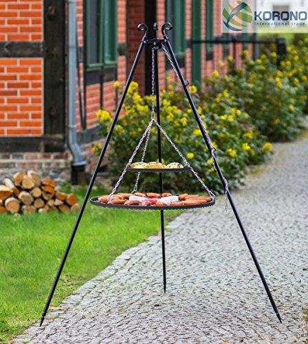 korono Barbecue suspendu solide Armature télescopique 180 cm & 2 sommiers 80 cm/40 cm – Barbecue de jardin en acier inoxydable pour toutes les fêtes et réunions de Famille