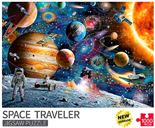 FUNZLE Space Puzzles for Adults 1000 Piece, Jigsaw Puzzles 1000 Pieces for Adults, Kids, Space Traveler, Educational Toys & Fun Games