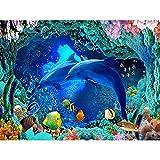 CJSZSD 5D Diamantmalerei Kinder Full DIY Diamantmalerei Kit Coralline Blue Dolphin Kreuzstich...