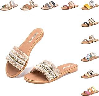 Sandales Femmes Plates Été Pantoufle Thong Bout Ouvert Chaussures Plage Romain Poids Léger Talon Bas Noir Marron Or Léopar...