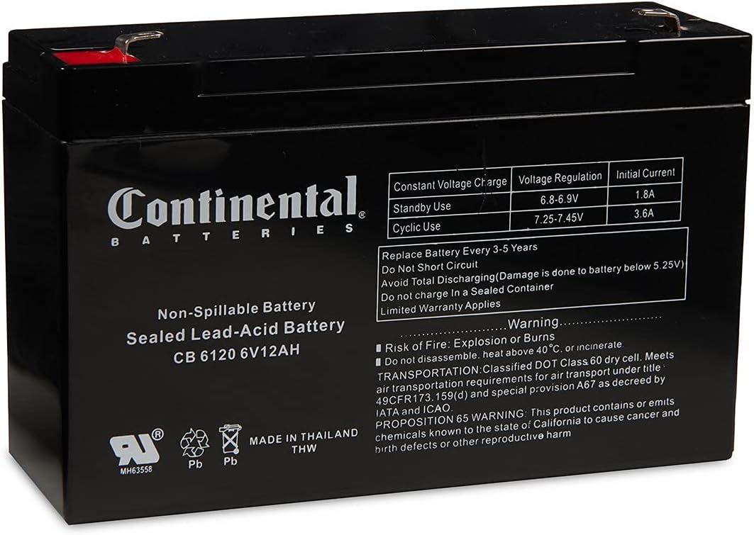 Continental Battery CB 6120 F1 6 Volt SLA AGM 12 Houston Mall outlet Hour Bat Amp