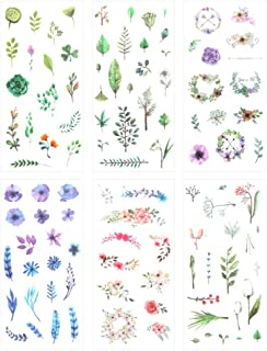 3 Set(18 Sheet) Fresh Floral Summer Green Plants Leaf Flower Tree Branches Stationery Sticker Scrapbooking Planner Journal Diary DIY Decorative Label Craft Stickers for Kids Boys Girls (Summer's Gift)