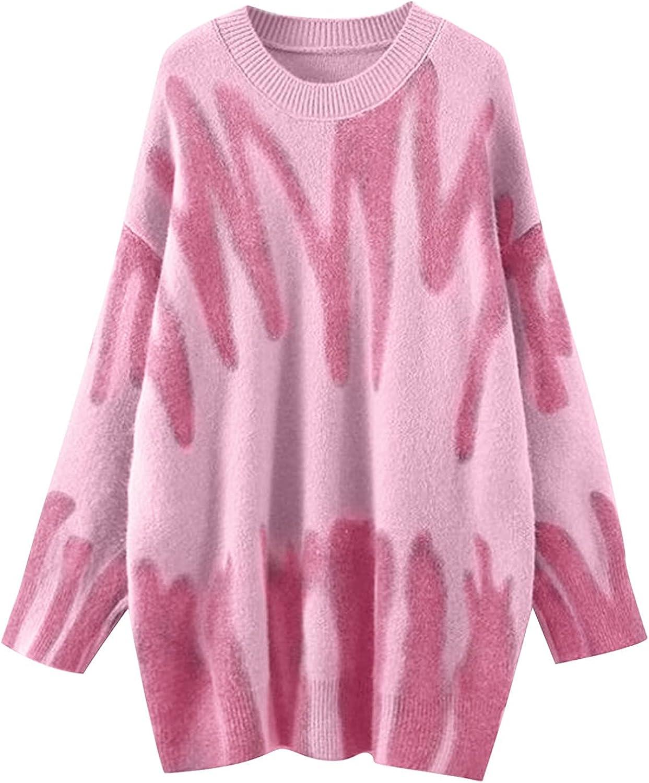 Women Knit Sweater Elegant Striped Print Pullovers Winter Warm O-Neck Basic Tops