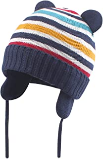 Winter Baby Beanie Hat for Boys Girls with Earflap Cute Bear Knit Infant Toddler Knit Cap Fleece Lining for 0-36M