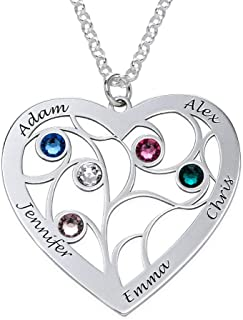 MyNameNecklace Personalized Custom Family Branch Tree Heart Necklace Made with Swarovski Crystals- Mother Day Jewelry Gift