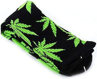 1 Par De Calcetines De Algodón Cómodo Impresos Hoja De Marihuana Calcetines Largos Ocasionales Weed Tripulación Deporte Calcetines (negro Y Verde)