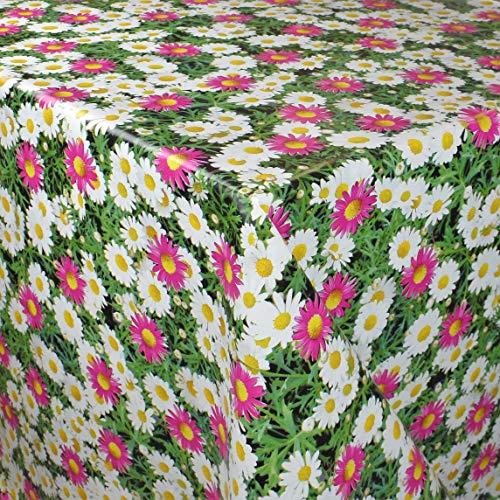 KEVKUS Mantel de hule por metros PC69-1, diseño de margaritas, color rosa y blanco, a elegir en rectangular, redondo, ovalado (borde cortado (sin borde), 140 x 220 cm, rectangular)