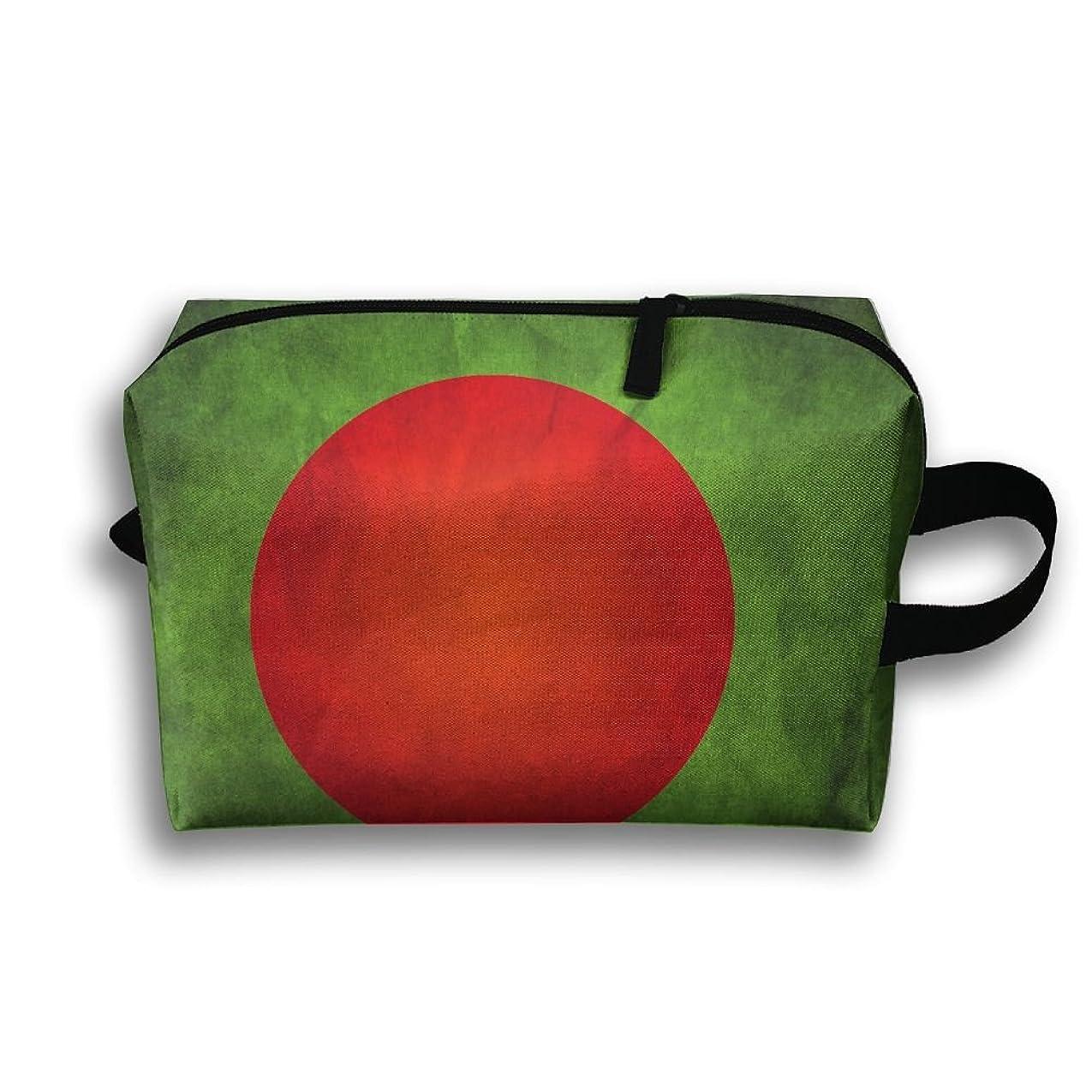サンダル翻訳する原子炉ポーチ バングラデシュの国旗 旅行用化粧品バッグ 洗面用具 修学旅行 PC周辺小物整理 小物入れ 大容量 軽量 収納 White