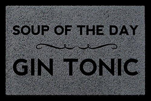 Interluxe FUSSMATTE Schmutzmatte Soup of The Day Gin Tonic Spruch WG Flur Viele Farben Dunkelgrau