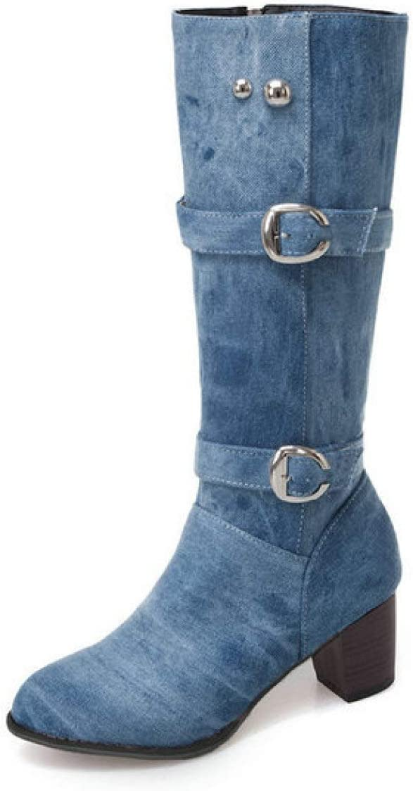 FMTZZY High Heels for Import Women Round Indianapolis Mall Weste Mid Toe Calf Boots