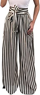 Womens Striped High Waist Harem Pants Bandage Elastic Casual Wide Leg Pants
