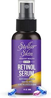 Retinol Serum with Hyaluronic Acid - 2.5%, Contains Aloe Vera from Stellar Skin. Natural Formula. Best Anti Aging Face Serum To Reduce Appearance of Wrinkles, Crows Feet & Fine Lines, Remove Spots