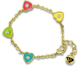 Kids Bracelets Crystal & Hearts Bangle Girls Jewelry Sets-18k Gold Plated Gift Sets