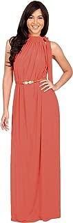 Womens Long Halter Sleeveless Sexy Summer Belted Evening Maxi Dress