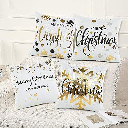 specool 4Pcs Weihnachten Kissenbezüge 45x45cm Flansch Kissenhülle Heißprägen Pillowcase, Weiß Decor Kissenhüllen für Sofa Car Home Decor(4pcs 2)