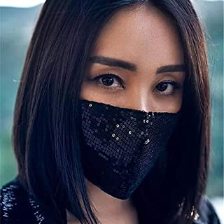 Urieo Fashion Sequins Face Masks Black Bling Mask Decorative Masquerade Halloween Masks Ball Party Nightclub Rave Festival...