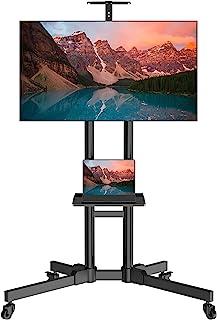 حامل تلفزيونات محمول بعجلات لشاشة تلفزيون 32-70 بوصة LED LCD 4K مسطحة/منحنية، عربة تلفزيونات دوراة/ارضية متوافقة مع معايير...