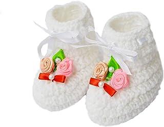Love Crochet Art Classic Crochet Baby Woolen Booties for 6-12 Months - White