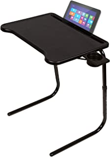 Table Mate Ultra Folding TV Tray Table and Cup Holder, Adjustable to 6 Heights and 3 Angles with Device Holder (Black)