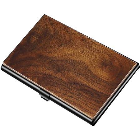 名刺入れ・カードケース 木製 くるみの木 ビジネス 重厚感のあるステンレス素材と銘木をあわせた 名刺・カード ケース (くるみの木)