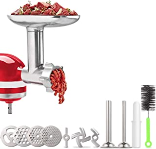 Meat Grinder Attachment for KitchenAid Stand Mixers, Accessories Included 2 Sausage Stuffer Tubes, Durable Metal Food Grin...