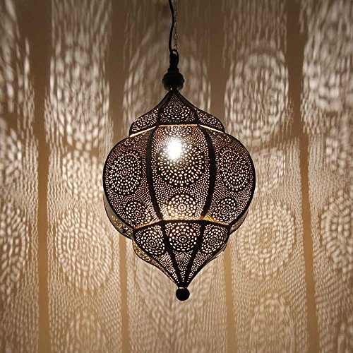 albena shop 71-5310 Abha orientalische Lampe schwarz/innen gold H 45cm / ø 27cm