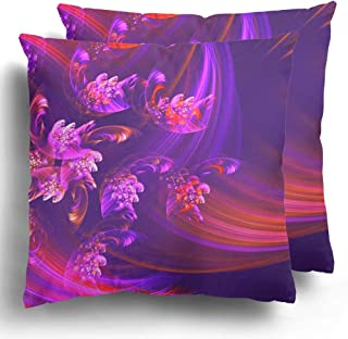 Throw Pillow Covers Pack of 2 Color Pink Abstraction Mysterious Abstract Geometric in Lilac Purple Tones Album Commercial Polyester Cushion Case Square Cover Home Decor 20 x 20 Inches