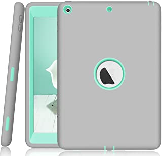 iPad 9.7 2018/2017 Case, ZERMU 3in1 Heavy Duty Shockproof Rugged Cover Silicone+Hard PC Bumper High-Impact Shock Absorbent Resistant Armor Defender Full Body Protective Case for iPad 6th Generation