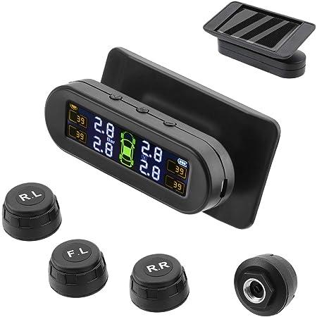 iTimo Système de surveillance de la pression des pneus avec 4 capteurs externes, alerte de température solaire TPMS pour l'avertissement de la température