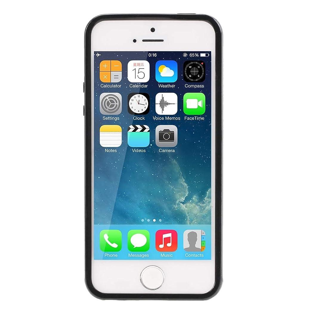 時々時々分析的海外IPhone 5&5S(パープル)用の滑らかな表面TPUケース Yikaja (色 : Black)