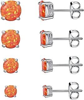 Fire Opal Earrings 14K White Gold Plated Orange Opal Stud Earrings Set of 6 Pairs Hypoallergenic for Women with Sensitive Ears