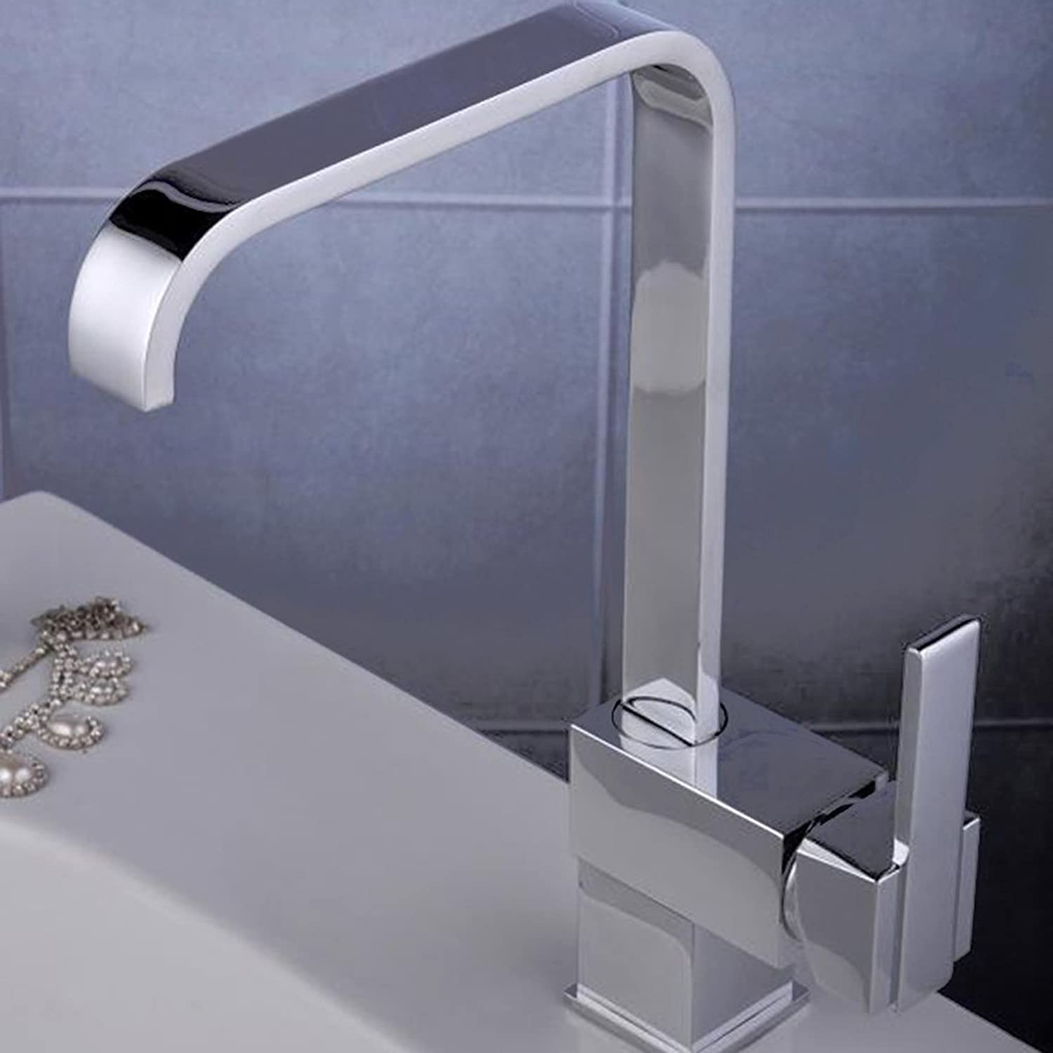 Single Lever Chrome Kitchen Sink Mixer Tap, High Arch Square Swivel Spout Lead Free Solid