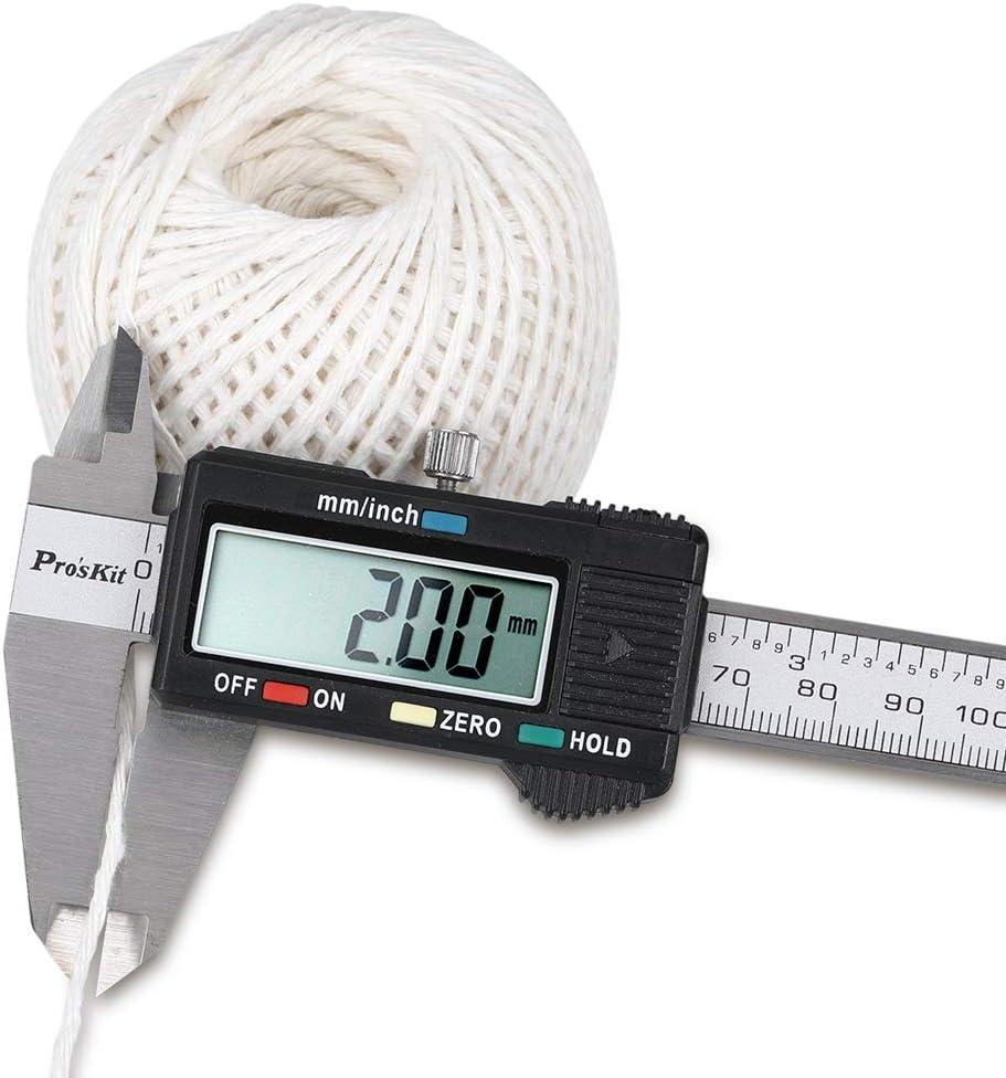G2PLUS 300M Corde Coton Fil de Coton 2MM Corde en Macram/é pour la Cuisson de la Cuisine Emballage de Cadeau de No/ël Blanc