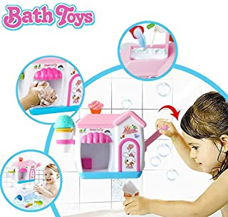 Happytime Ice Creams Bubble Bathtub Toy Pink Bathroom Foam Cone Factory Making Ice Creams Bubble Machine Bathtub Water Toys for Baby (No Batteries Required)