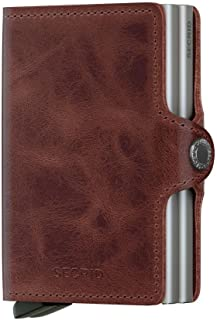 Secrid Twin wallet leather brown Credit Card Wallet / with RFID protection with one click all cards slide out gradually. Up to 18 cards