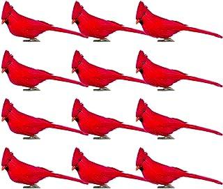 Alpurple 12 PCS Inch Artificial Red Cardinal Birds Clip-Christmas Cardinal Birds Clip for Christmas Tree Ornament Decorati...