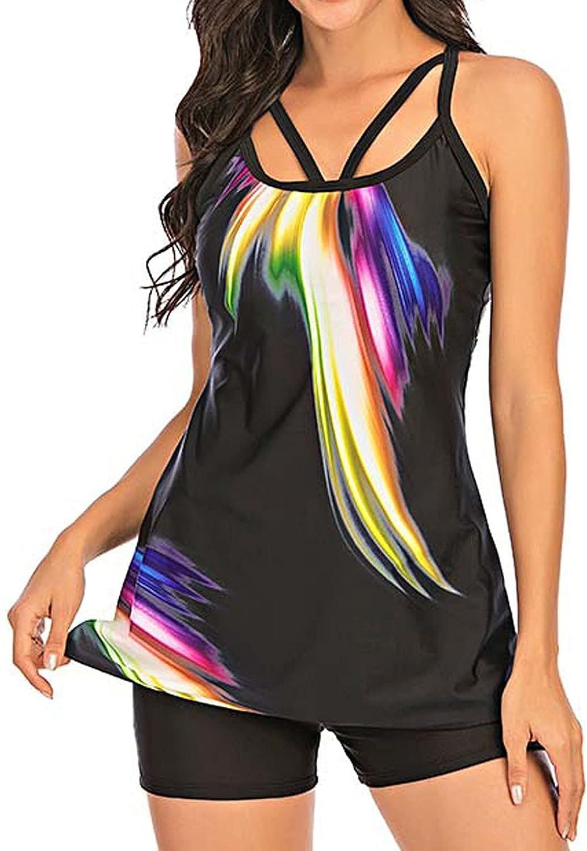 Hesxuno Womens Summer Casual Two Piece Mid Waist Tankini Set Swimsuit Printing Swimwear Beachwear Bathing Suits Swimdress