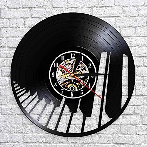 TJIAXU Teclado de Piano Colgante de Pared Reloj de Arte Pianista Disco de Vinilo Reloj de Pared de música decoración de Dormitorio Familiar música clásica Regalo de Pareja