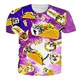 RAISEVERN 3D Gato de Pizza Camiseta Estampada Hombre Divertidas T-Shirt Mujer Manga Corta XL