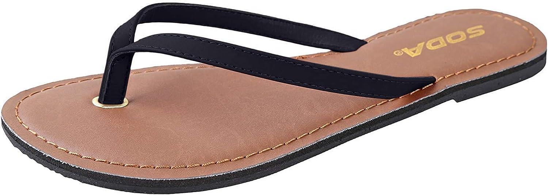 Soda Shoes Women Flip Flops Basic Bea Award-winning store Sandals Plain Strap Popular standard Casual