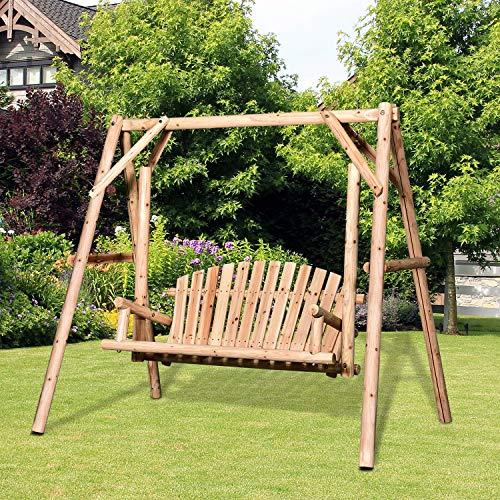 Outsunny Hollywoodschaukel, 2-Sitzer Gartenschaukel, Schaukelbank, Hängebank, Massivholz Natur 187 x 137 x 170 cm - 2
