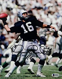 Jim Plunkett Autographed Oakland Raiders 8x10 Passing Photo- Beckett Auth Black