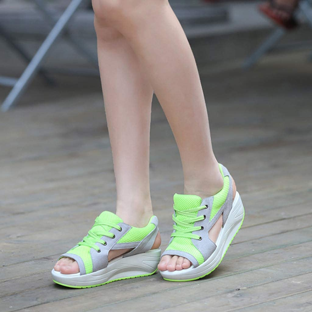 Memela Clearance sale Women Sneaker Sandals Open Toe Shake Thick Bottom Lace Up Shoes Ladies Casual Sports Shoes