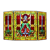 "Chloe Lighting 3pcs Folding Victorian 44"" Wide Tiffany-Glass Fireplace Screen"