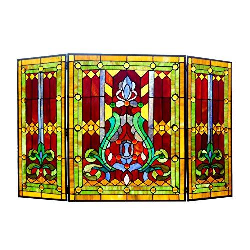 Chloe Lighting 3pcs Folding Victorian 44' Wide Tiffany-Glass Fireplace Screen