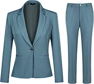 YUNCLOS Women's 2 Piece Office Work Suit Set One Button Blazer and Pants
